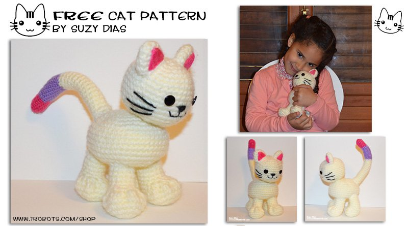 FREE Pattern: Crochet Kitten with Bendable Tail by Suzy Dias