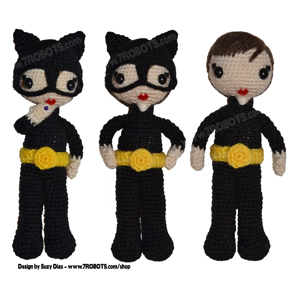 Catwoman Amigurumi : #CatWoman #Amigurumi with Removable Mask. Handmade by # ...