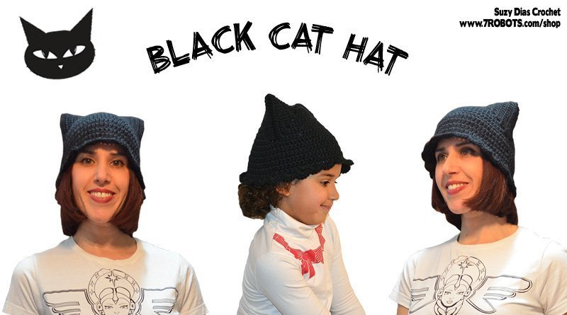 Crochet Black Cat Hat by Suzy Dias
