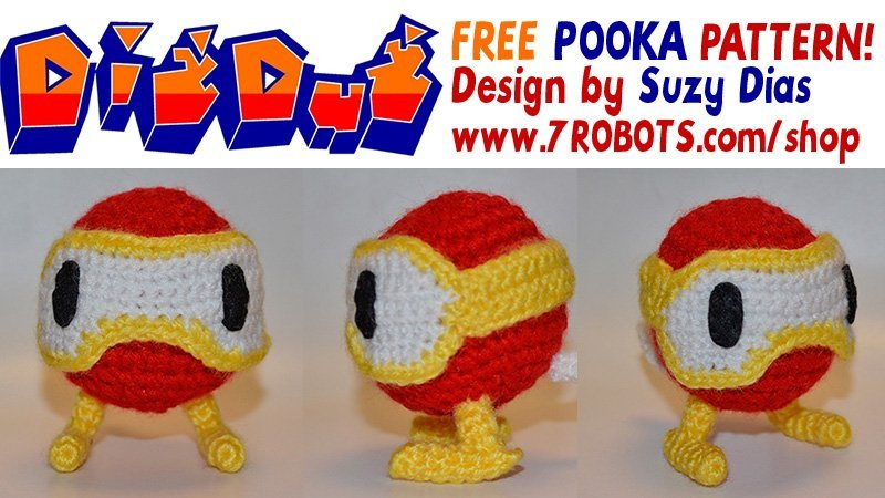 Crochet Pooka from Pac-Man and Dig Dug. FREE Pattern by Suzy Dias