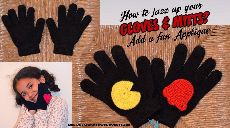 Suzy Dias Pac-Man applique for gloves