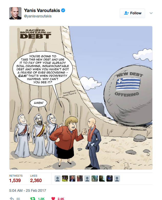 Yanis Varoufakis tweeted our Merry Felonies Greece Cartoon update 4