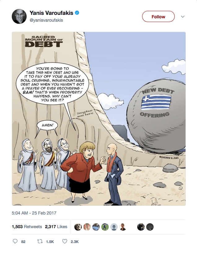 Yanis Varoufakis tweeted our Merry Felonies Greece Cartoon