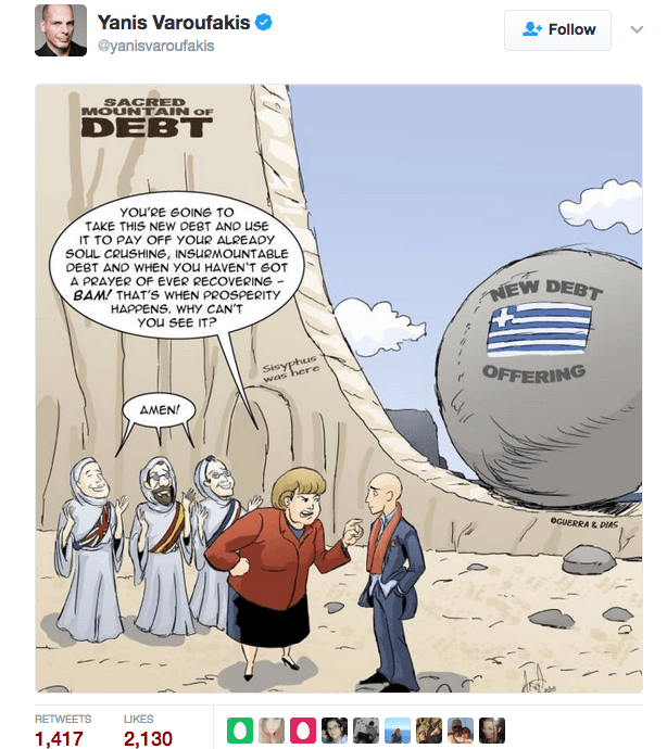 Yanis Varoufakis tweeted our Merry Felonies Greece Cartoon update 2