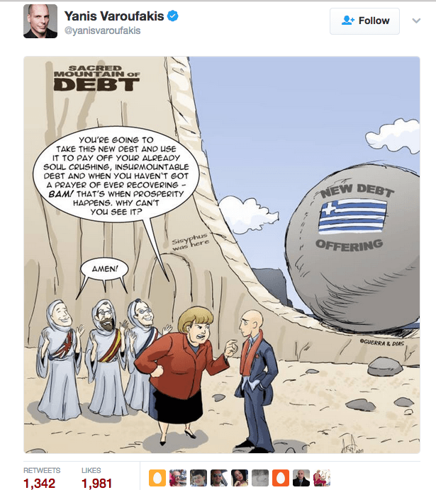 Yanis Varoufakis tweeted our Merry Felonies Greece Cartoon update1