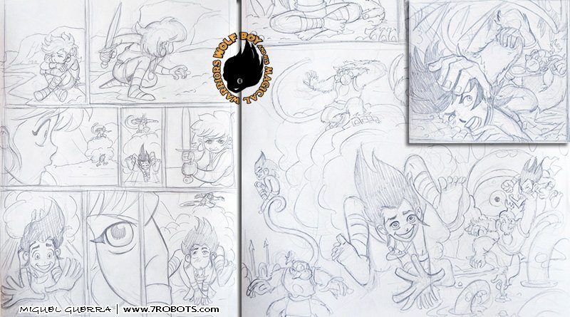 Wolf Boy & the Flushing of Atlantis (all-ages comic) pencils by Miguel Guerra