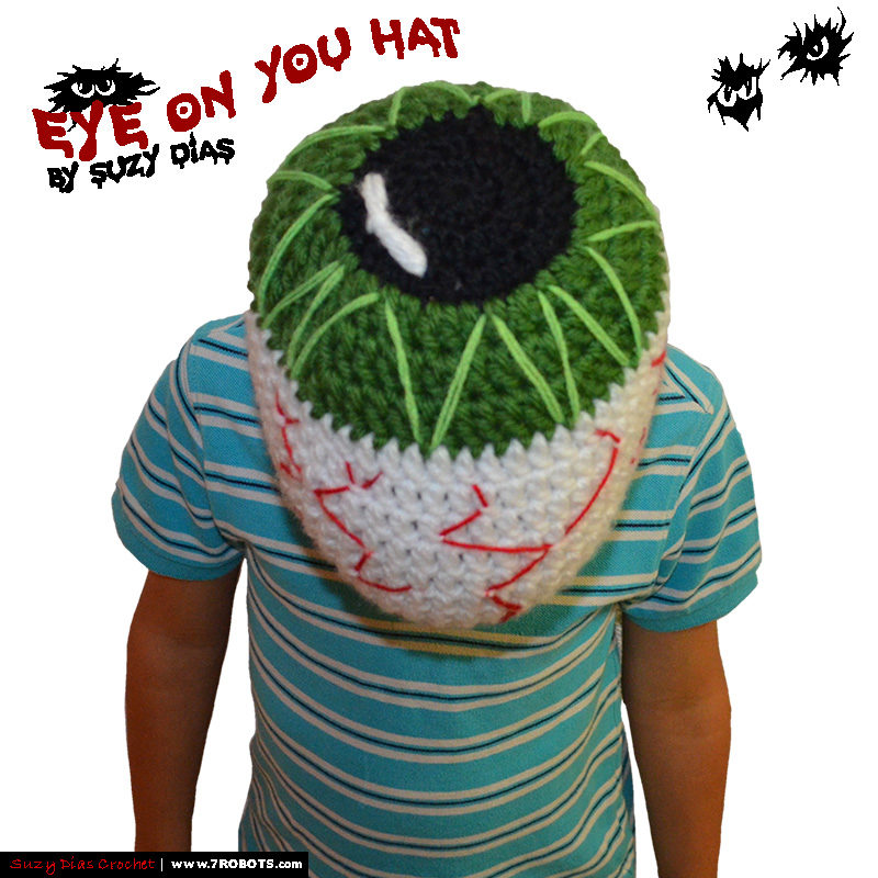 Crochet Eye On You Hat Handmade by Suzy Dias