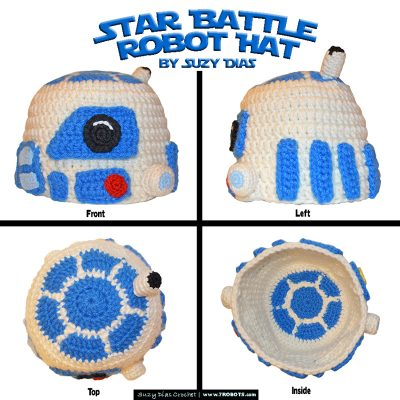 Crochet Star Battle Robot Hat by Suzy Dias