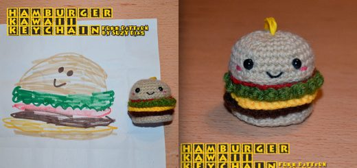 Crochet Hamburger Kawaii Keychain FREE Pattern by Suzy Dias