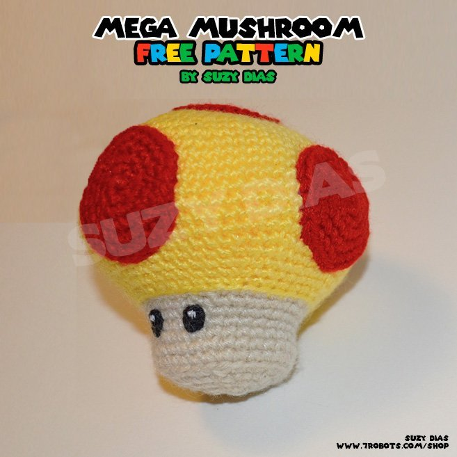 Crochet Mega Mushroom Super Mario Bros Free Pattern By Suzy Dias For