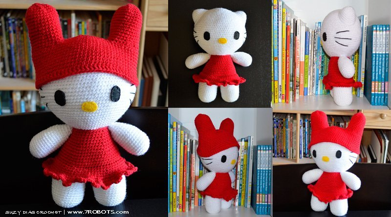How to Crochet kawaii girl in Hello kitty Amigurumi - YouTube | 445x800