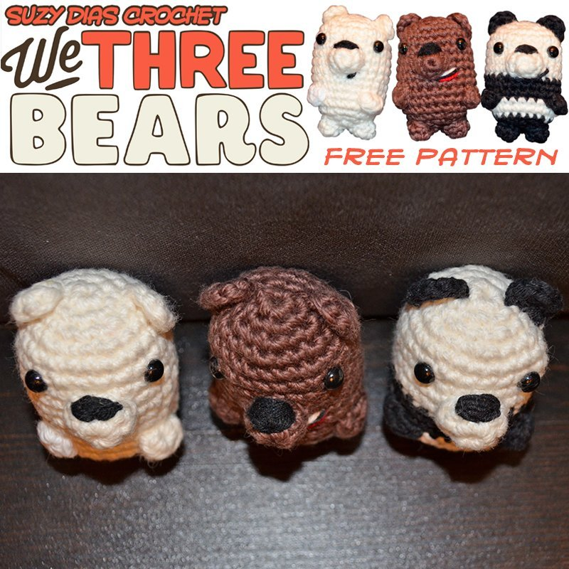 AMIGURUMI GRIZZLY & ICE BEAR | WE BARE BEARS | FREE PATTERN ... | 800x800